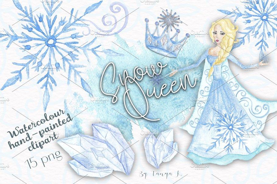 Snow Queen Watercolor Clipart ~ Illustrations ~ Creative Market.