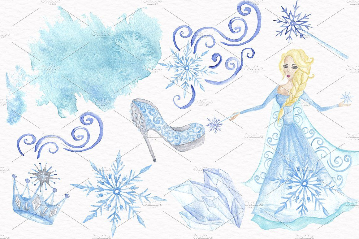 Snow Queen Watercolor Clipart #drawn#painted#watercolor#hand.
