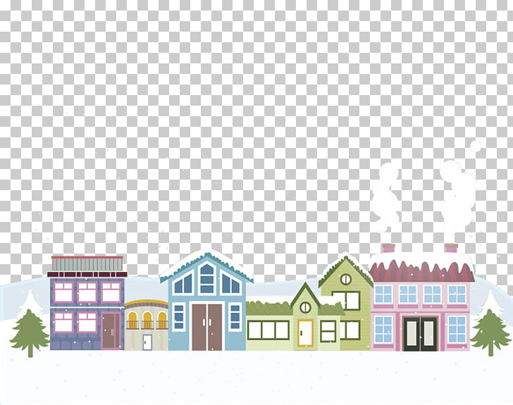 Christmas card Landscape Gift, Snow roof PNG clipart.