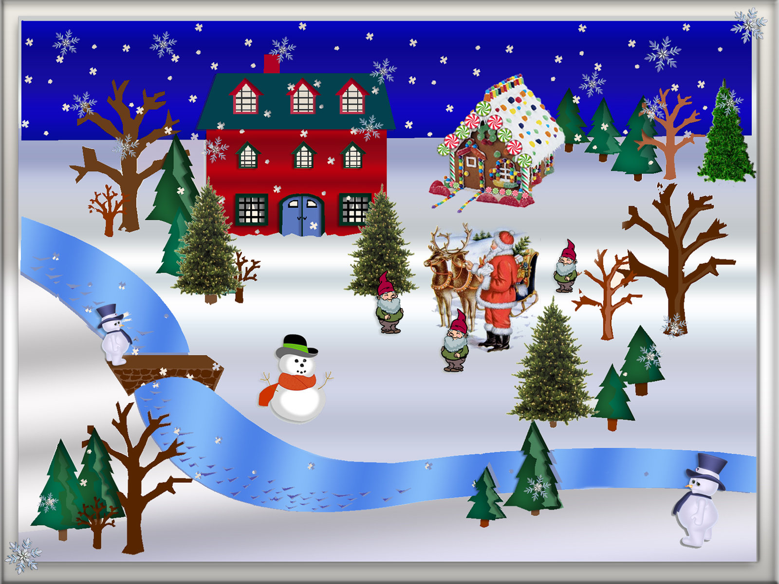 Christmas Snow Scenes Clipart.