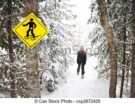 Stock Photographs of Winter hiking with Snowshoes.
