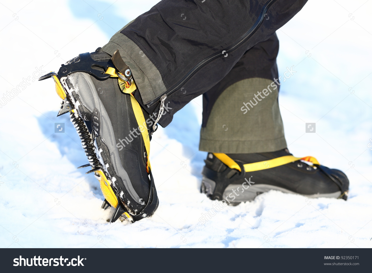 Crampons Shoes Walking On Ice Snow Stock Photo 92350171.
