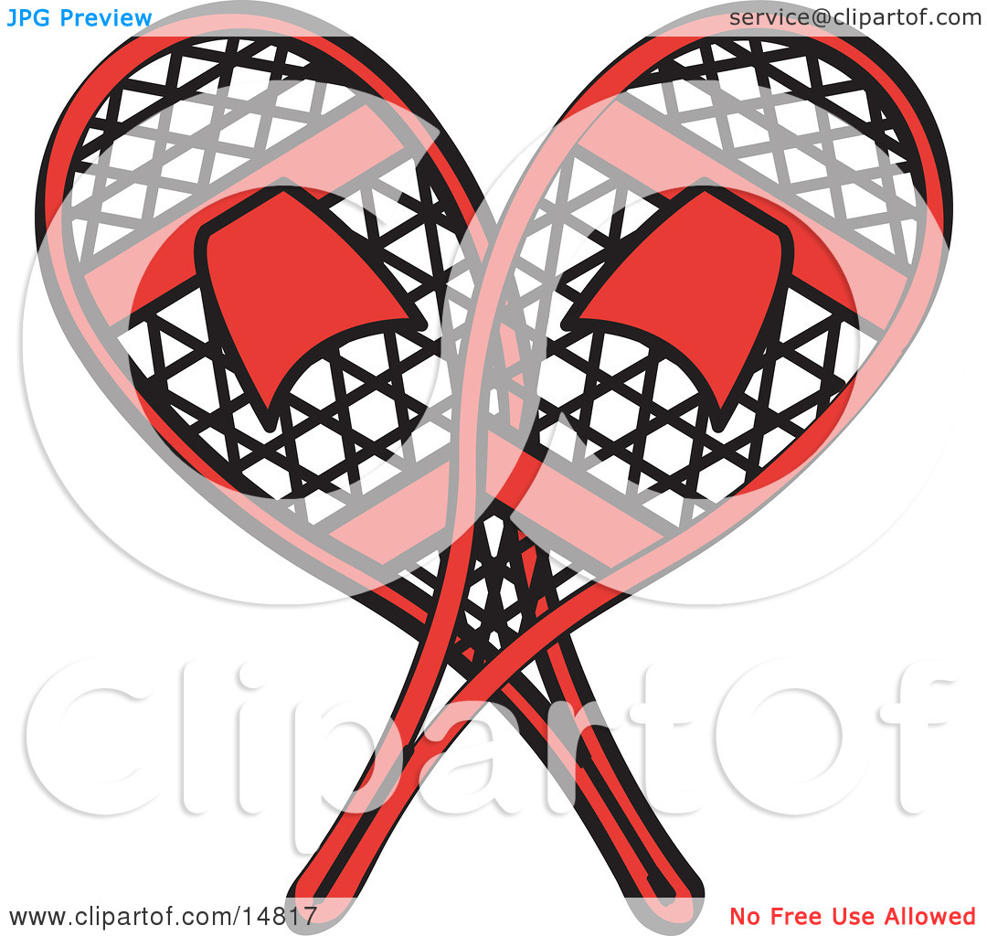 Pair of Red Snowshoes Crossed Retro Clipart Illustration by Andy.