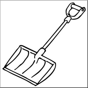 Clip Art: Snow Shovel B&W I abcteach.com.