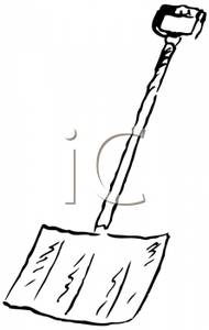 Black and White Snow Shovel Clipart Picture.