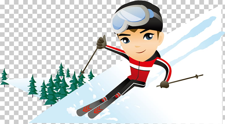 Skiing Cartoon Snow Illustration, Snow snow ski winter.