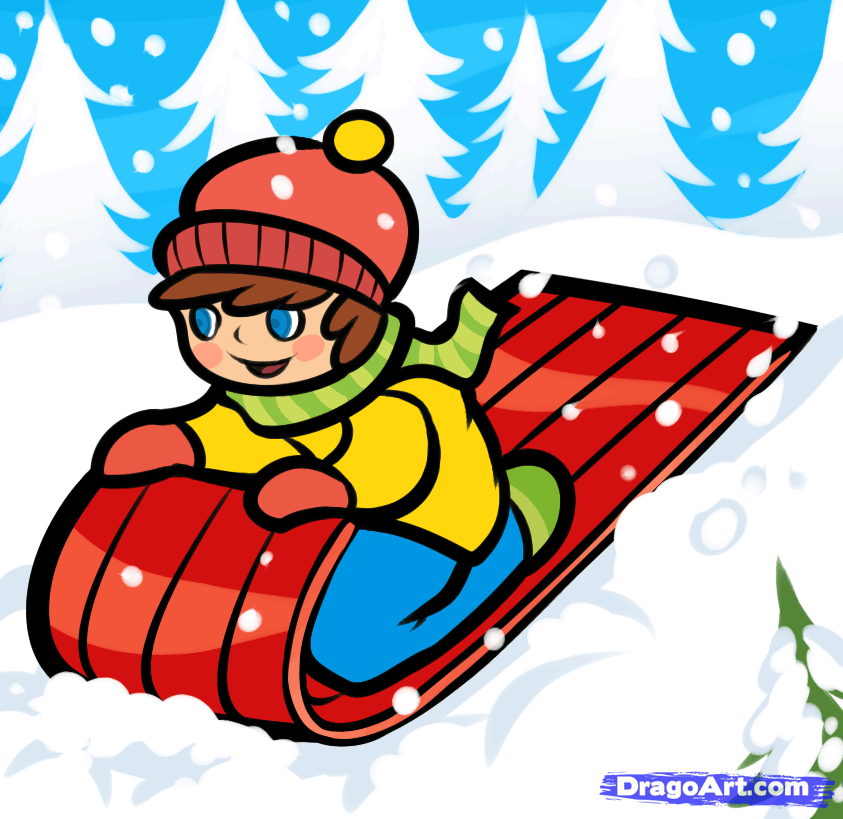 How to Draw a Snow Sled, Step by Step, Christmas Stuff.