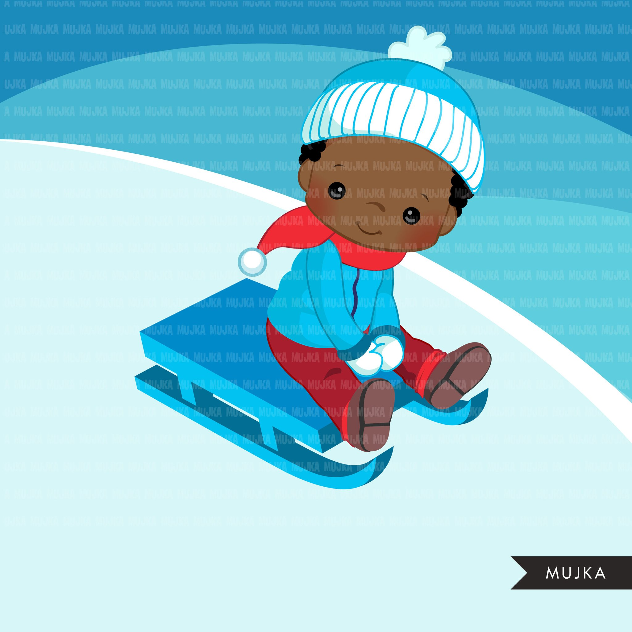 Winter sled snow boys clipart.