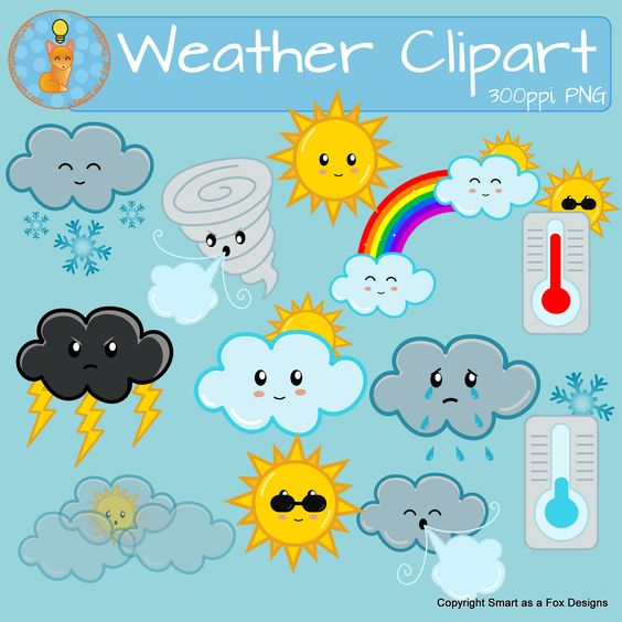 Weather Clipart Sunny Snow Cloudy Windy Rain Tornado Temperature.
