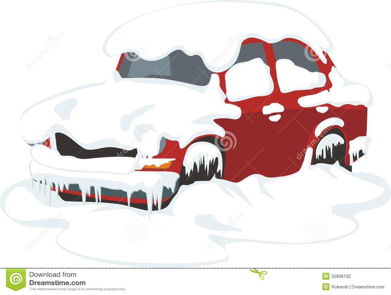Car In Snow Stock Photography.