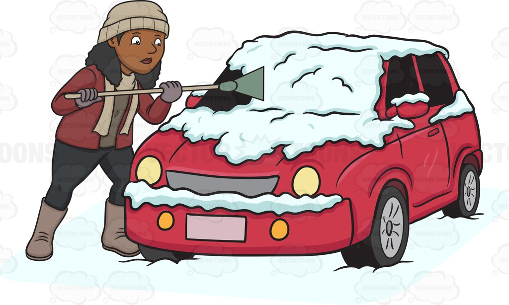 A Black Woman Cleaning The Snow Off Her Car Cartoon Clipart.