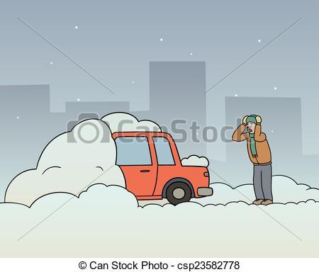 Vectors Illustration of Car stuck.