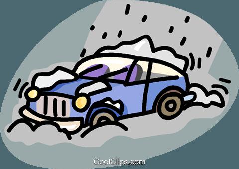 car stuck in a snow storm Royalty Free Vector Clip Art.