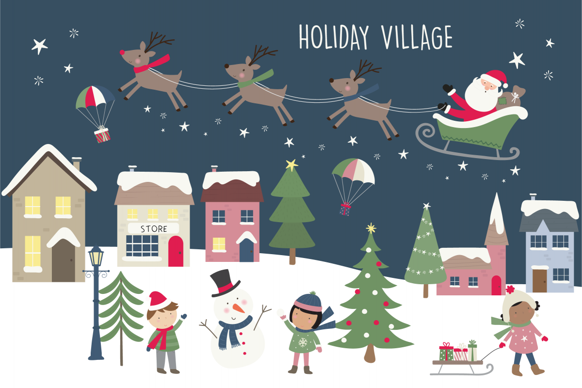 Holiday village clipart and paper.