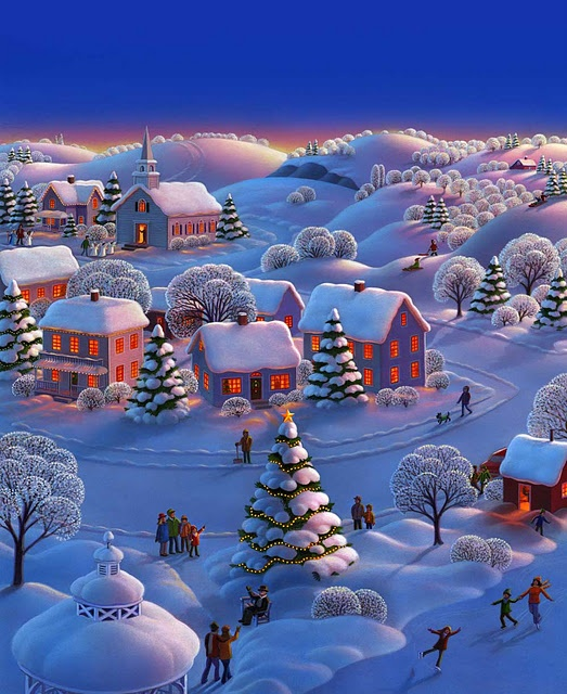 Snow village clipart.