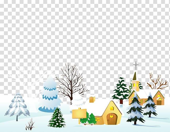 Christmas village , snow village transparent background PNG.