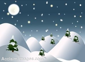 Clip Art of Trees In A Snowy Winter Scene.