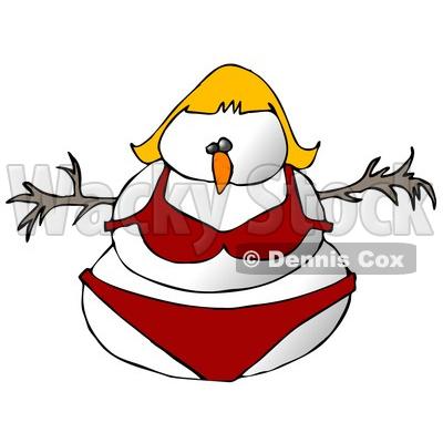 Female Snowman Snow Woman in a Red Bikini Clipart Illustration.