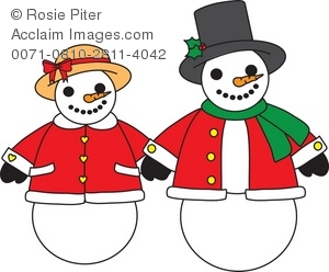 Royalty Free Clipart Illustration of a Snowman and Snowwoman.