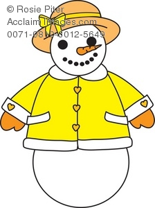 Cartoon Snow Woman All Dressed up Royalty Free (RF) Clip Art Picture.