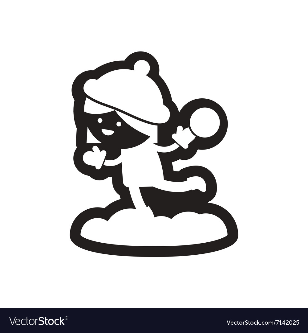 Flat icon in black and white child snowball.