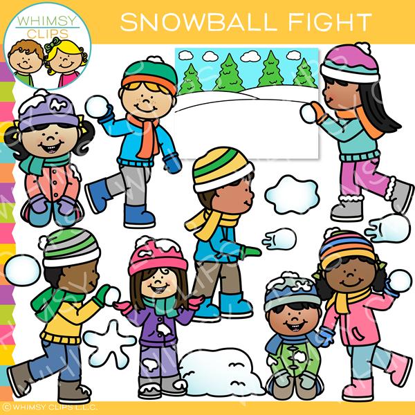 Winter Snowball Fight Clip Art.