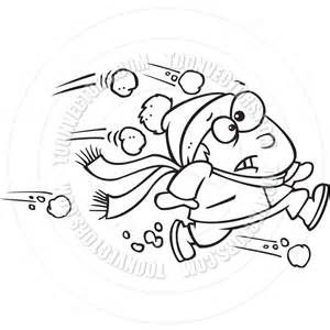 Cartoon Snowball Fight (Black and White Line Art) by Ron.