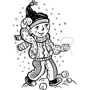 snowball fight clipart. Royalty.