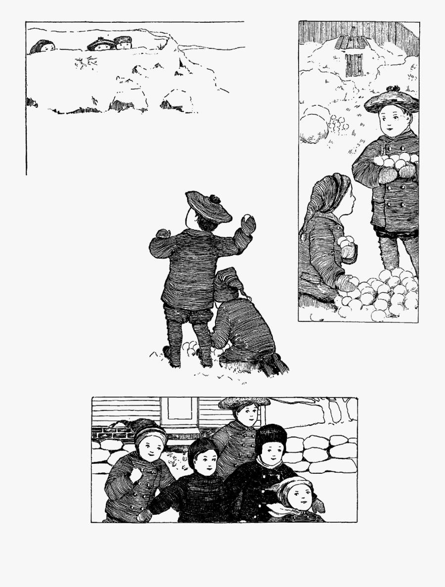 Vintage Winter Snow Snowball Fight Children Child Free.
