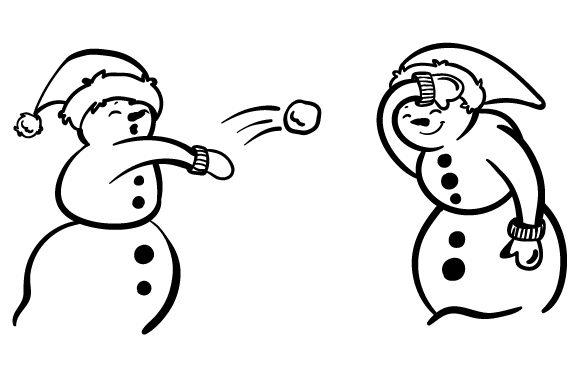 Snowmen having a snowball fight.