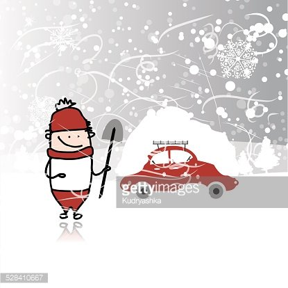 Man and car with snowbank on roof, winter blizzard Clipart.