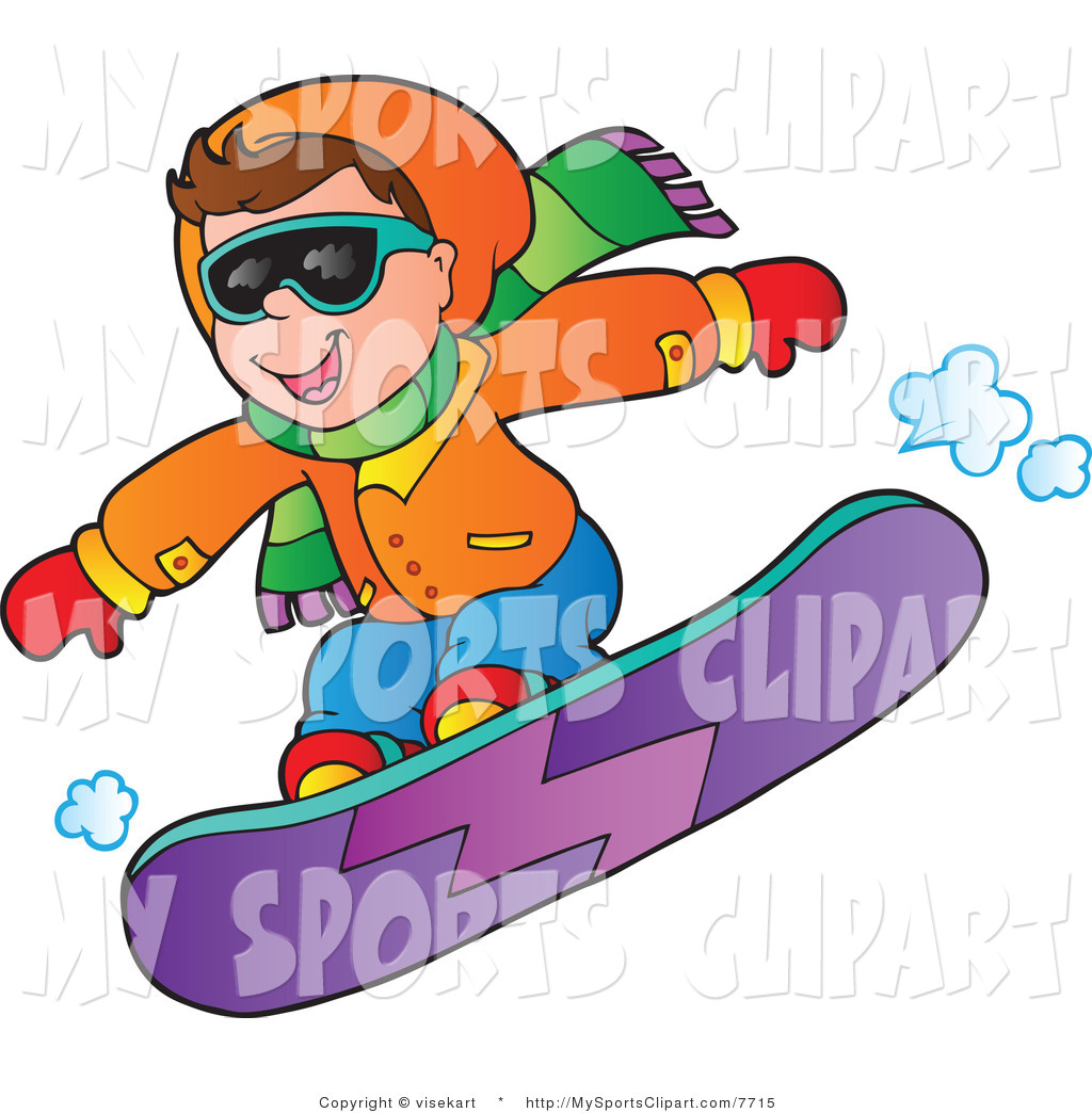 Sports Clip Art of a Boy Snowboarding by visekart.