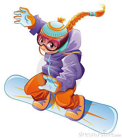 Girl snowboarder clipart.