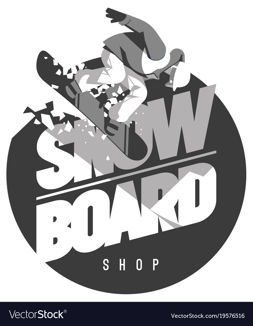 Freeride snowboarder in motion sport logo or.