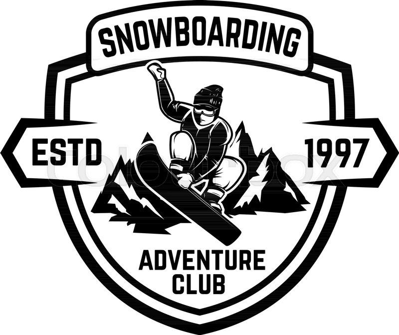 Snowboarding. Emblem with snowboarder..