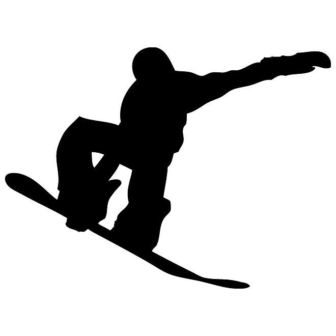 Snowboarder vector graphics silhouette.