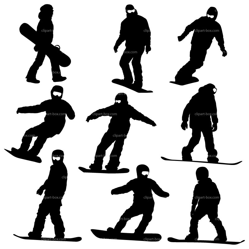 CLIPART SNOWBOARDERS.