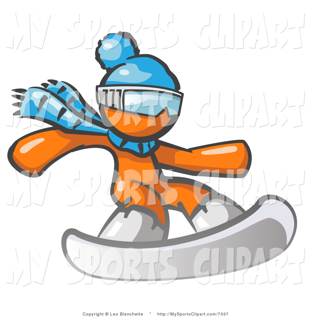Sports Clip Art of a Orange Snowboarder by Leo Blanchette.