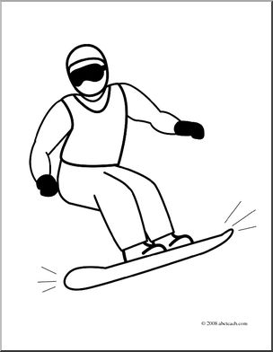 Clip Art: Snowboarding 2 (coloring page) I abcteach.com.