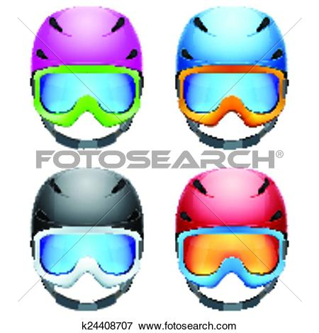 Clipart of Front view of Classic black Ski helmet and snowboard.