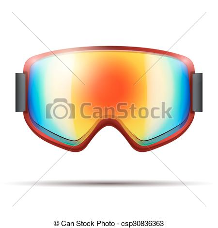 Clip Art Vector of Classic snowboarding goggles with big rainbow.