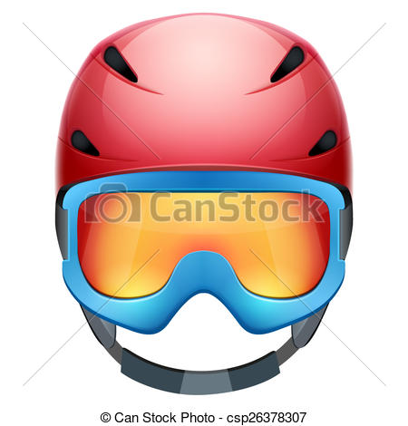 Stock Illustration of Front view of Classic Ski helmet and.