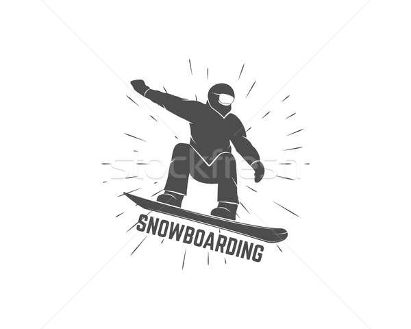 Snowboarding logo, label template. Winter sport badge.