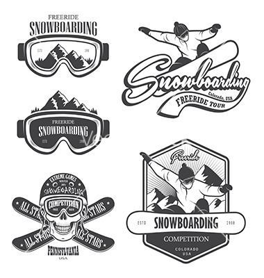 Snowboard logo and emblem vector by IvanMogilevchik on.