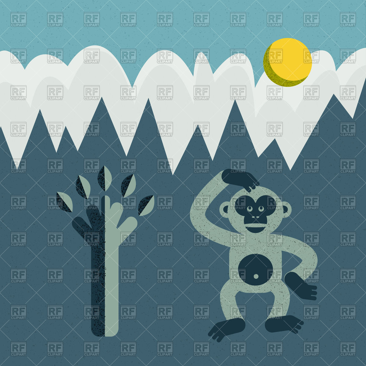 Monkey near tree in front of snowbound mountains Vector Image.