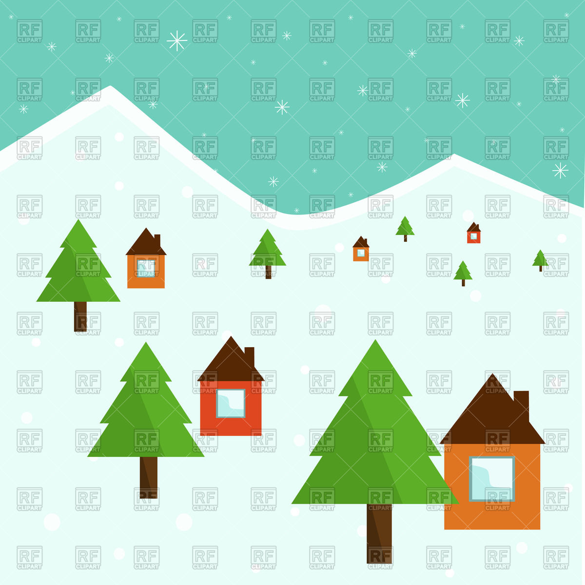 Cartoon winter hills with houses and fir trees.