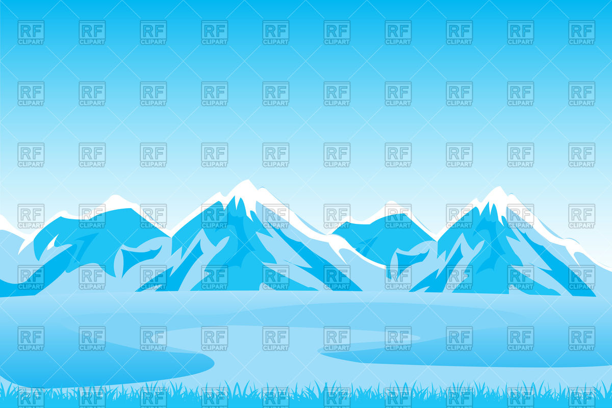 Snowbound mountains landscape in winter Vector Image #91296.