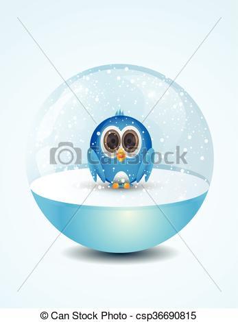 Vector Clip Art of cute bird inside snow dome.