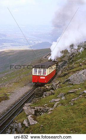 Stock Photo of View of Snowdon Mountain Railway Snowdonia National.