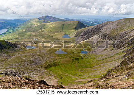 Stock Image of Mountain view from the Snowdon summit, Snowdonia.